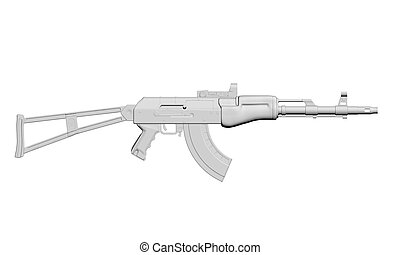 Machine gun - Vector illustration of the machine. 3D. ...