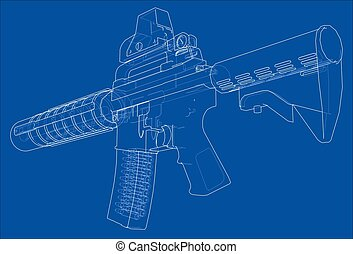 Machine Gun. Vector rendering of 3d. Wire-frame style. The ...