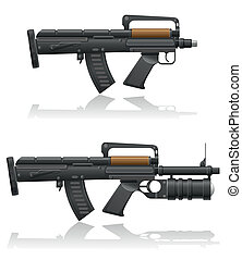 machine gun with a short barrel and grenade launcher vector...