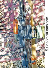 machine-gun with ammo chain