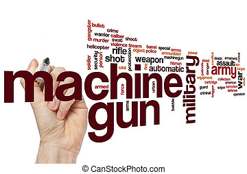 Machine gun word cloud concept with army weapon related tags