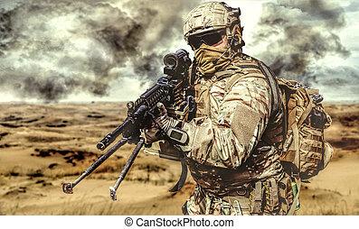 Machine gunner in the desert in action