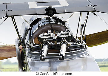 Machine guns of World War 1 biplane