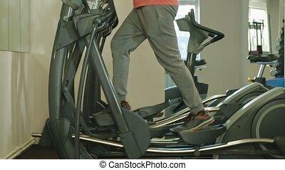 machine, gym., homme, elliptique