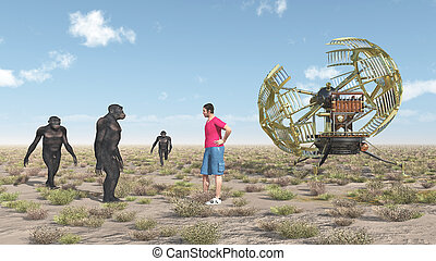 machine, habilis, homo, voyageur, temps