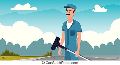 machine, homme, ouvrier, nettoyage, vide