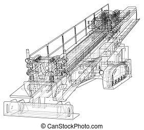 machine, horizontal, vecteur, forage, directionnel