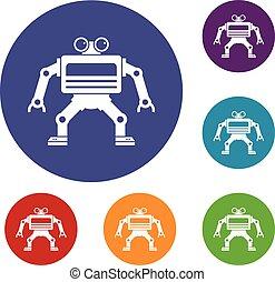 Machine icons set