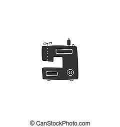 machine., illustration., couture, fait main, theme., isolé, vecteur, logo, dessiné, main, élément