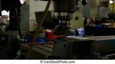 Machine in workshop 4k - Close-up of machine in workshop 4k