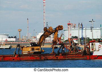 machine, industrie, -, port, espagne