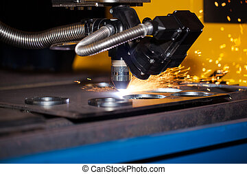 machine, industriel, découpage, plasma, cnc