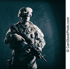 machine, infantryman, moderne, fusil, armée