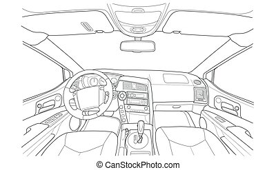 Machine inside. Interior of the vehicle. - The machine...