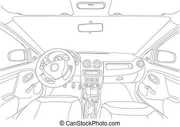 The machine inside. The interior of the vehicle. Vector illustration of the lines.