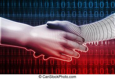 machine, intégration, homme