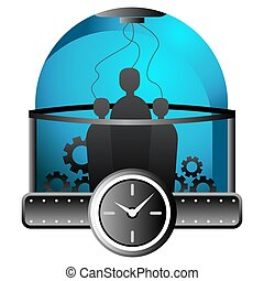 machine, intérieur, gens, temps