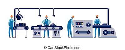 machine, isolated., fonderie, illustration, travail, vecteur, outillage, ouvriers, usine, plat