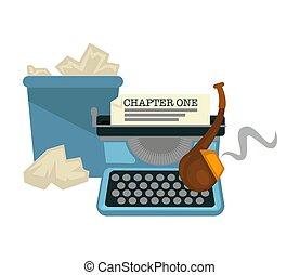 machine, items, emmer, schrijvers, pijp, papier, het typen,...