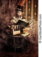machine lady - Portrait of a beautiful steampunk woman over...