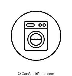 machine., lavage, illustration., editable, ligne., vecteur, mince, icon.