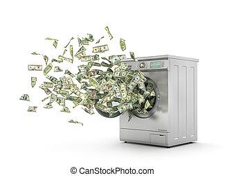 machine., lavando, passar roupa, dinheiro, concept., voando,...
