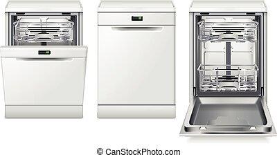 machine, lave-vaisselle, ensemble, réaliste