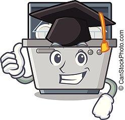 machine, lave-vaisselle, isolé, remise de diplomes, dessin animé