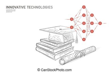 Machine learning 3D low poly technology business concept. Neural network training artificial intelligence. Graduation cap, books, diploma polygonal modern design banner template vector illustration