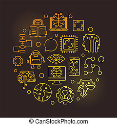 Machine Learning circular vector golden line illustration