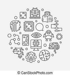 Machine Learning circular vector illustration in outline style