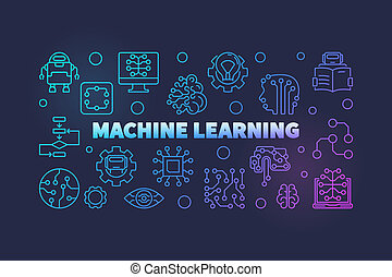 Machine Learning colored horizontal vector line illustration