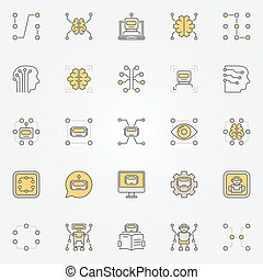 Machine learning colorful icons set - vector data mining and...
