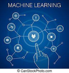 Machine learning concept, blue background. data mining, algorithm, classification, AI icons