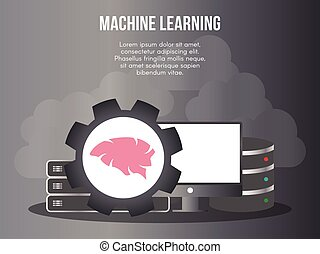 Machine learning concept illustration vector design template