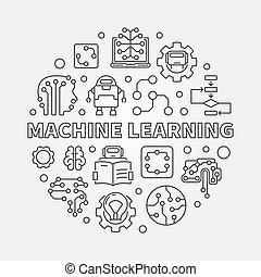 Machine Learning Concept round vector illustration in line...
