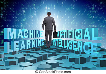 Machine learning concept with businessman