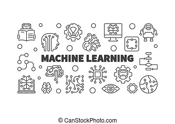 Machine Learning horizontal vector illustration in line...