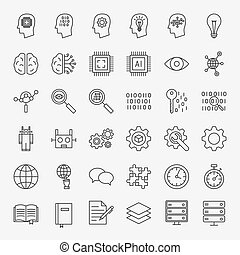 Machine Learning Line Icons Set