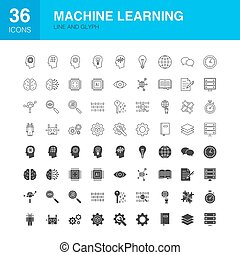 Machine Learning Line Web Glyph Icons