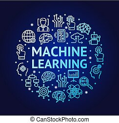 Machine Learning Signs Round Design Template Thin Line Icon Concept. Vector