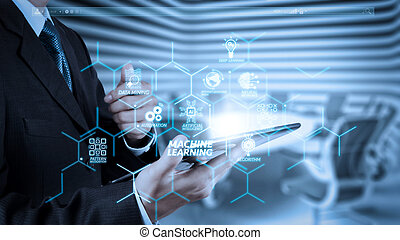 businessman success working with tablet computer