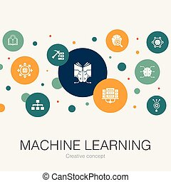 Machine learning trendy circle template with simple icons. Contains such elements as data mining, algorithm, AI