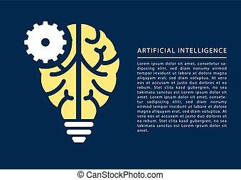 machine, leren, en, kunstmatige intelligentie, concept, met, hersenen, en, gloeilamp, pictogram, en, tekst, als, template.