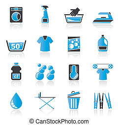 machine, lessive, lavage, icônes
