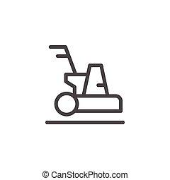 machine, ligne, nettoyage, icône