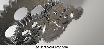 machine, métal, engrenage, mécanisme