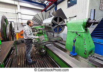 machine., młynarstwo, starszy, przemysł, metal, cnc, pracownicy