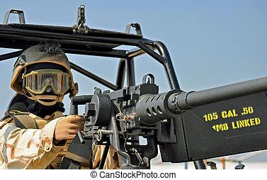 machine, m2, geweer, cal., 50