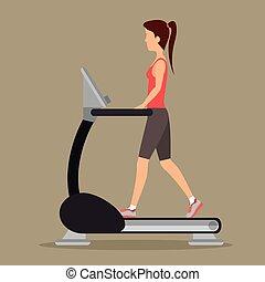 machine, marche, femme, gymnase